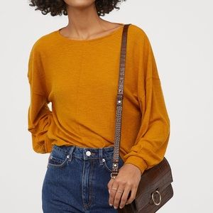 NWT Mustard Yellow H&M Creped Top